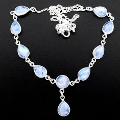 925 sterling silver 30.24cts natural rainbow moonstone necklace jewelry t26410
