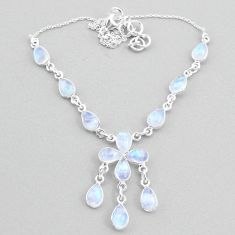 925 silver 22.54cts natural rainbow moonstone necklace jewelry t34138