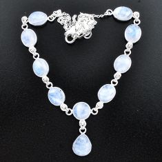 925 sterling silver 38.84cts natural rainbow moonstone necklace jewelry t37660