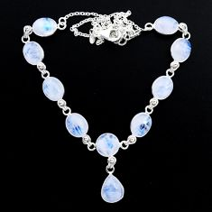 925 sterling silver 39.37cts natural rainbow moonstone pear necklace t48718