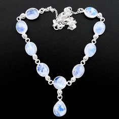 925 sterling silver 37.88cts natural rainbow moonstone round necklace t26387
