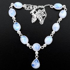925 sterling silver 37.42cts natural rainbow moonstone round necklace t26390