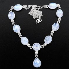 925 sterling silver 37.50cts natural rainbow moonstone round necklace t26396