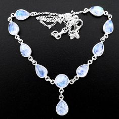 925 sterling silver 31.94cts natural rainbow moonstone round necklace t26404
