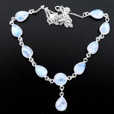 925 sterling silver 29.65cts natural rainbow moonstone round necklace t26414