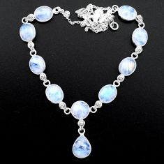 925 sterling silver 35.80cts natural rainbow moonstone round necklace t26417
