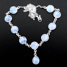 925 sterling silver 33.10cts natural rainbow moonstone round necklace t26420
