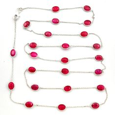 925 sterling silver 35.65cts natural red ruby chain necklace jewelry r31484
