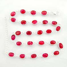 925 sterling silver 37.38cts natural red ruby chain necklace jewelry r38708
