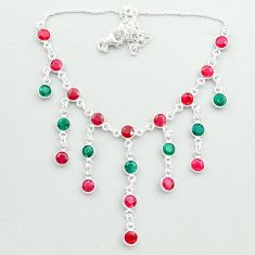 925 sterling silver 19.87cts natural red ruby emerald necklace jewelry t50305