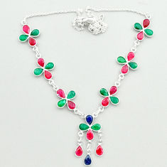 925 sterling silver 26.85cts natural red ruby emerald sapphire necklace t50339
