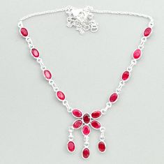 925 sterling silver 16.73cts natural red ruby necklace jewelry t50312