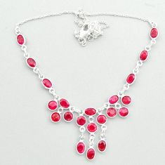 925 sterling silver 23.13cts natural red ruby oval necklace jewelry t50338
