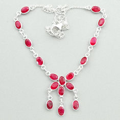 925 sterling silver 19.68cts natural red ruby oval necklace jewelry t50349
