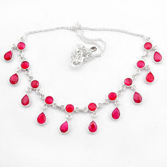 925 sterling silver 21.71cts natural red ruby pear necklace jewelry t40583