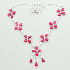 925 sterling silver 27.49cts natural red ruby pear necklace jewelry t50333