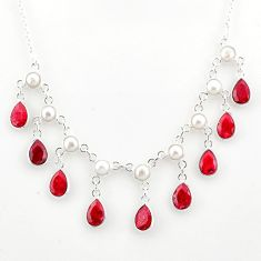 925 sterling silver 23.61cts natural red ruby pear white pearl necklace r77419