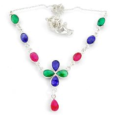 925 sterling silver 16.46cts natural red ruby sapphire emerald necklace r84950