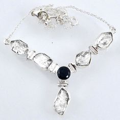 925 sterling silver 31.73cts natural white herkimer diamond onyx necklace r61185