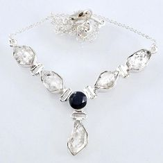 925 sterling silver 30.48cts natural white herkimer diamond onyx necklace r61188