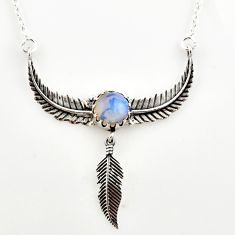 925 sterling silver 5.42cts natural white opalite feather charm necklace r27600