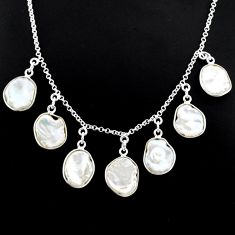 925 sterling silver 29.40cts natural white pearl handmade necklace r71619