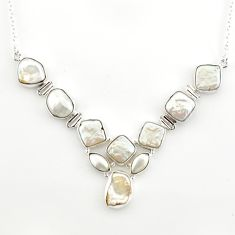 925 sterling silver 41.98cts natural white pearl fancy necklace jewelry r27500