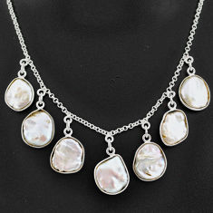 925 sterling silver 31.00cts natural white pearl fancy necklace jewelry t7644