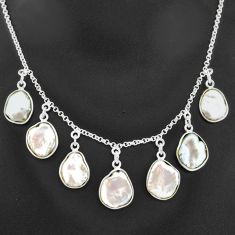 925 sterling silver 28.86cts natural white pearl fancy necklace t7650