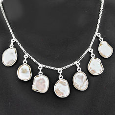 925 sterling silver 31.46cts natural white pearl fancy shape necklace t7647