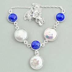 925 sterling silver 28.76cts natural white pearl lapis lazuli necklace t37276