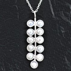 925 sterling silver 5.21cts natural white pearl round necklace jewelry t4711
