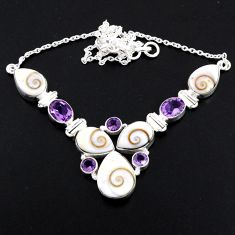 925 sterling silver 44.07cts natural white shiva eye amethyst necklace r56109
