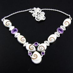 925 sterling silver 54.68cts natural white shiva eye amethyst necklace r56114