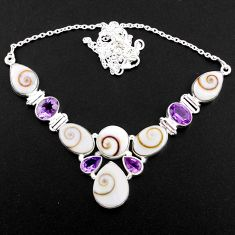925 sterling silver 44.78cts natural white shiva eye amethyst necklace r58714