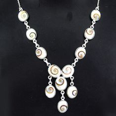 925 sterling silver 36.09cts natural white shiva eye necklace jewelry r94093