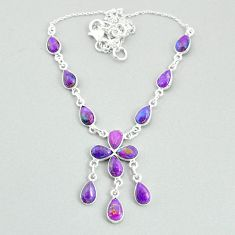 925 silver 19.99cts purple copper turquoise pear shape necklace t34104