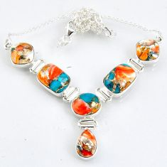 925 sterling silver 29.66cts spiny oyster arizona turquoise necklace r56069