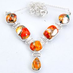 925 sterling silver 31.31cts spiny oyster arizona turquoise necklace r56073