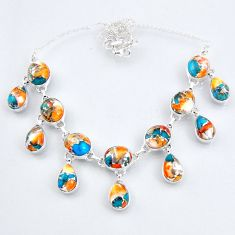 925 sterling silver 67.31cts spiny oyster arizona turquoise necklace r56104