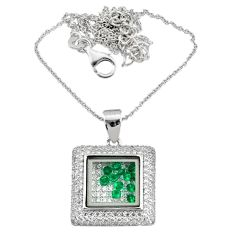 925 sterling silver 14.20cts white cubic zirconia green emerald necklace r73100