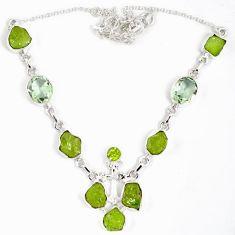 Natural green peridot rough druzy peridot 925 sterling silver necklace j15962