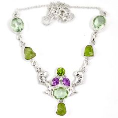 Natural green peridot rough druzy amethyst 925 silver mermaid necklace j15965