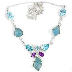 Natural aqua aquamarine rough druzy amethyst 925 silver necklace jewelry j15966
