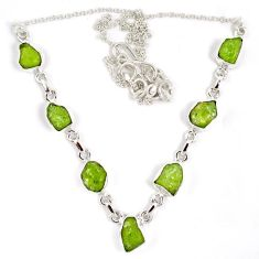 Natural green peridot rough druzy 925 sterling silver necklace j15968