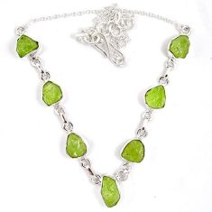 925 sterling silver natural green peridot rough druzy necklace j15969
