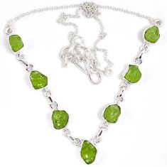 Natural green peridot rough druzy 925 sterling silver necklace j15970