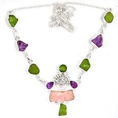Natural pink kunzite peridot rough 925 silver tree of life necklace j15971