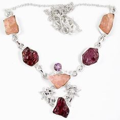 Natural pink tourmaline rough kunzite rough silver angel wings necklace j15973