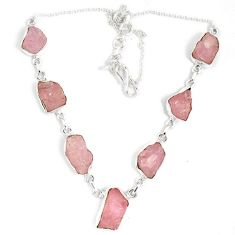 Natural pink kunzite rough fancy 925 sterling silver necklace jewelry j15978